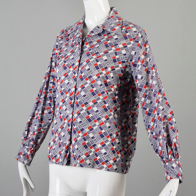 Large 1970s Shirt 70s Blouse Cotton Top Long Sleeve Shirt Red White Blue Geometric Print Distressed Faded Casual Hippie Shirt Boho Shirt