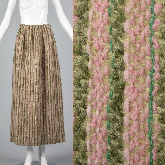 Small 1970s Tweed Maxi Skirt 70s Hippie Maxi Skirt