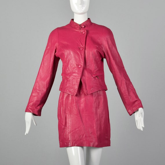 XS 1980s Hot Pink Skirt Suit Leather Blazer Mini 8