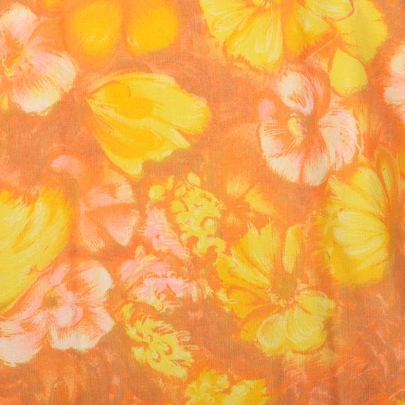 Large 1960s Orange Top Hippie Floral Boho Trumpet… - image 8