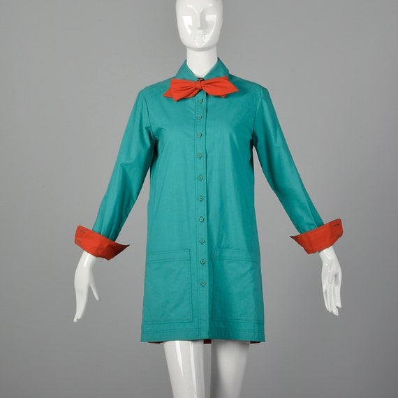 1970s Neon Circle Skirt with Matching Pussy Bow Tie