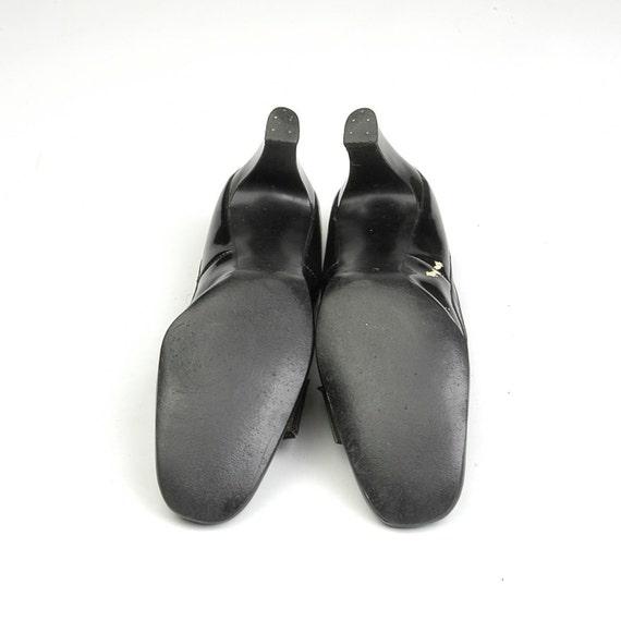 60s sz Narrow Mod Gold Vintage Black AAA N 7 Chunky Round Short Buckle Patent Heel 7 AtrqTA