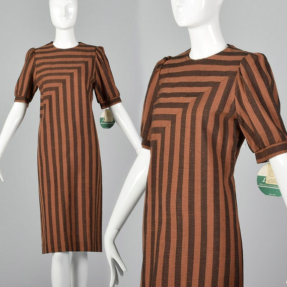 Medium Leslie Fay Dress Brown and Black Stripe Vin