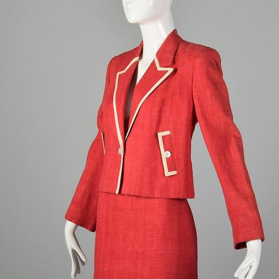 Large 1980s Red Linen Skirt Suit Vintage Skirt Su… - image 7