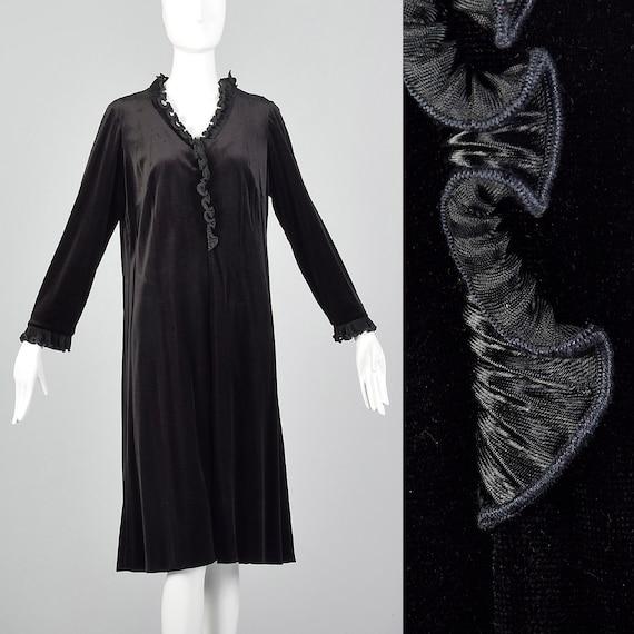 XL 1970s Black Velvet Dress Vintage Ruffle Velvet