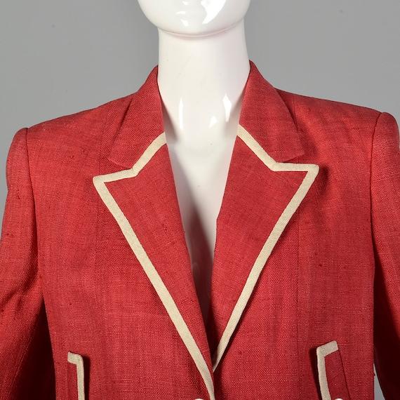 Large 1980s Red Linen Skirt Suit Vintage Skirt Su… - image 8