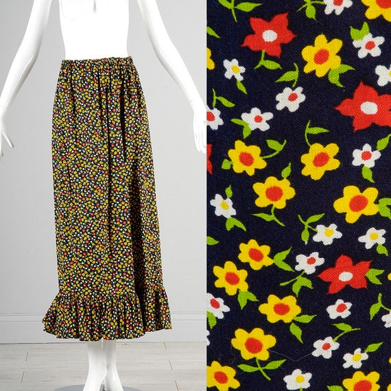 Medium 1970s Maxi Skirt 70s Boho Hippie Maxi Skirt