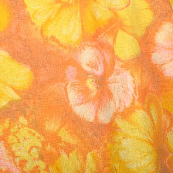 Large 1960s Orange Top Hippie Floral Boho Trumpet… - image 9