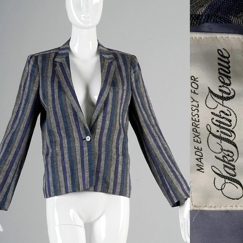 Small Saks Fifth Ave Blazer 1980s Jacket 80s Boyfriend Blazer Striped Blazer Blue Purple Stripe Vintage Designer Blazer Casual