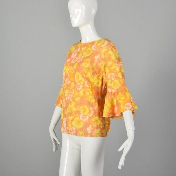 Large 1960s Orange Top Hippie Floral Boho Trumpet… - image 2