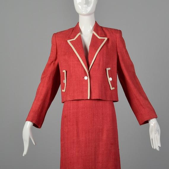 Large 1980s Red Linen Skirt Suit Vintage Skirt Su… - image 6
