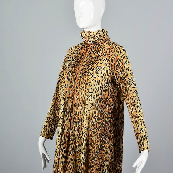 Sleeve Long 70s Front Large Vintage Nylon Robe Summer Animal Flowy 1970s Print Print Leopard Zip Silky Robe wqrY6nZq