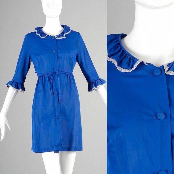 Small 1970s Peignoir 70s Robe Royal Blue Button Up