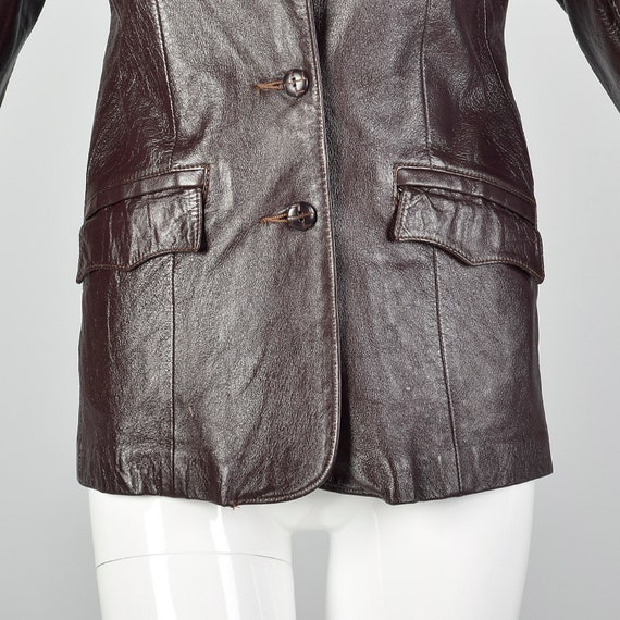 Medium Brown Leather Jacket 1970s Western Blazer … - image 6