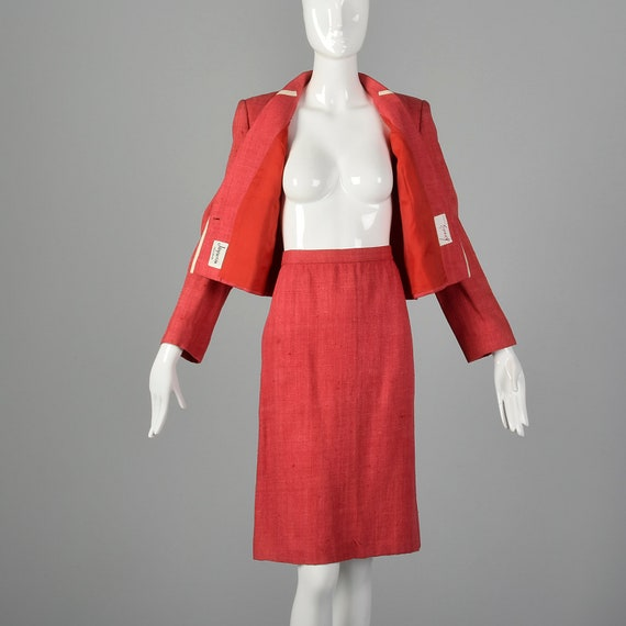 Large 1980s Red Linen Skirt Suit Vintage Skirt Su… - image 5