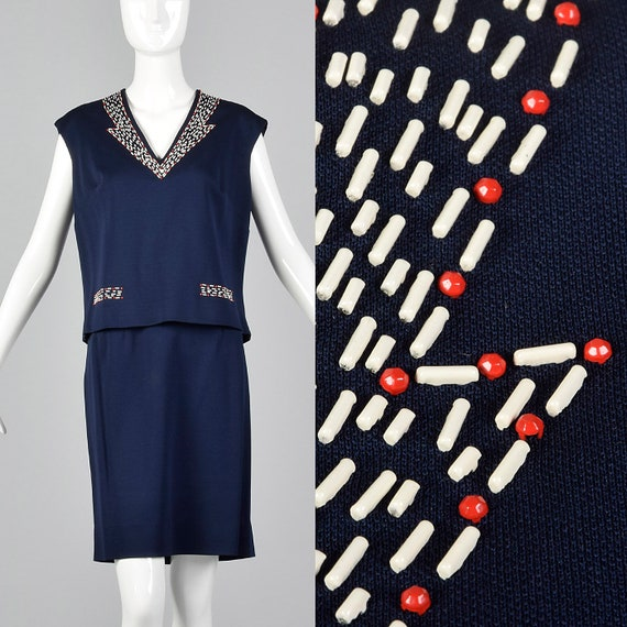 Medium 1960s Navy Blue Set Casual Separates Boxy S
