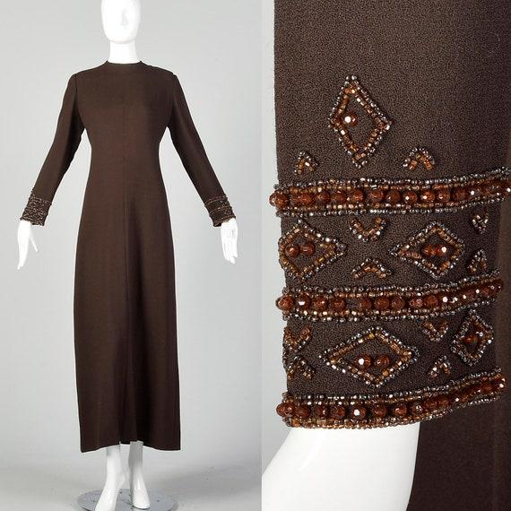 XL Brown Dress 1970s Maxi Beaded Cuffs Winter Maxi