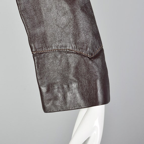 Medium Brown Leather Jacket 1970s Western Blazer … - image 8