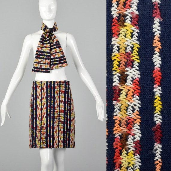 Medium 1960s Knit Skirt and Scarf Set Vintage Stri