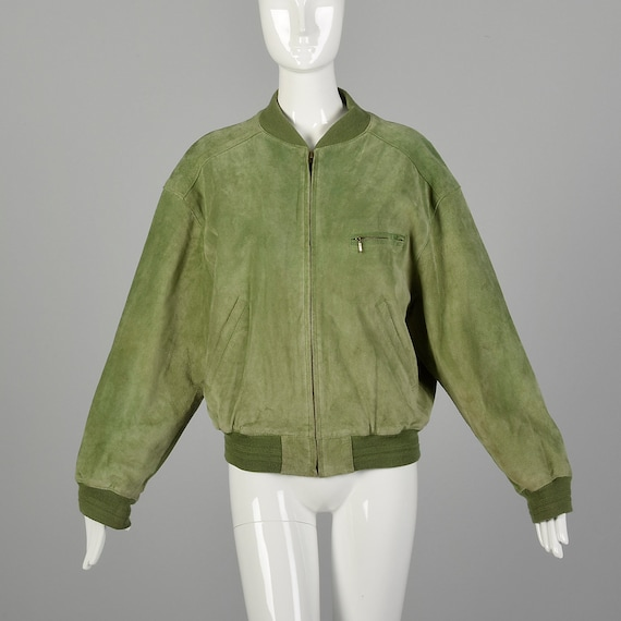 Small 1980s Bomber Jacket Green Suede Coat Ribbed