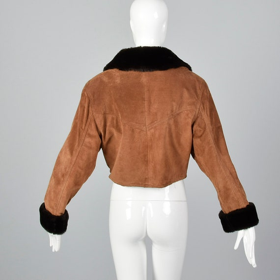 Jacket Fur Vintage Jacket 1980s Brown Autumn Leather Brown Suede Coat 80s Medium Faux Trim Cropped Outerwear SYq8FZ