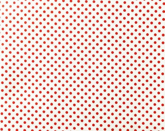 Sewing Craft Material Red 4mm Polka Dot Polycotton Fabric  x 112cm