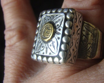 Sterling Ethnic Ring w/ Gold Vermeil Eagle and Fish Ring -  Handmade - Hand-Etched Bird Fish Design Vintage Indonesia