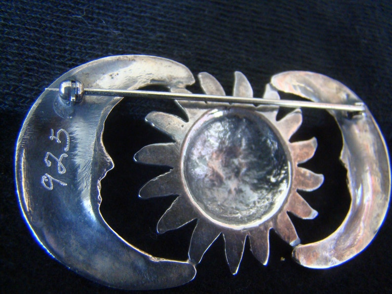 Sun and Moon Pin Moon Sun Pin Sterling Silver Vintage Mexican Silversmith Made by Hand
