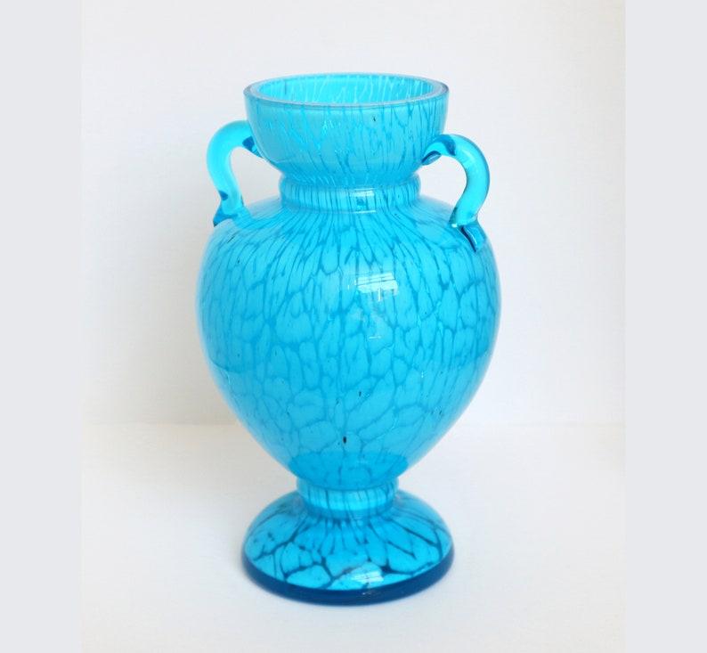 Antique Harrach 'Marmor Aquamarin' Handled Glass Vase, c  1890