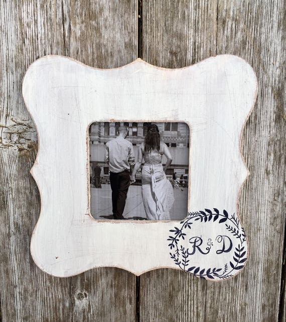 newlywed gifts simple initials engagement frames   Etsy