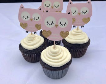 Fine Owl Cupcake Toppers Etsy Personalised Birthday Cards Sponlily Jamesorg