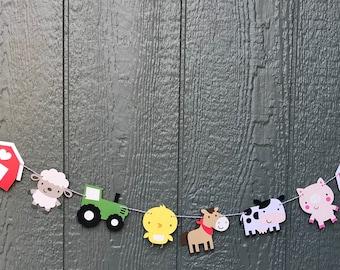 Farm animal garland, Farm party, barnyard party, pig, horse party, tractor birthday, farm birthday, first birthday, barnyard birthday, cow