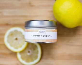 Lemon Soy Travel Candle | LEMON VERBENA | Travel Candle | Soy Wax | Premium Container Candle | Lemon + Orange + Lemongrass