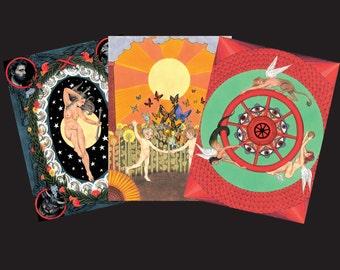 Hardy Tarot Print Bundle (choose three) - Hardy Tarot, Tarot Art, Wall Art, Tarot Poster, Print Set, Original Art