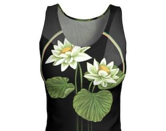 Lotus Blossom Tank Top - Lotus Shirt, Yoga Top, Tank Top, Athletic Wear, Water Lily, Lotus Blossom, Lotus, Printed Tank, Lotus Flower