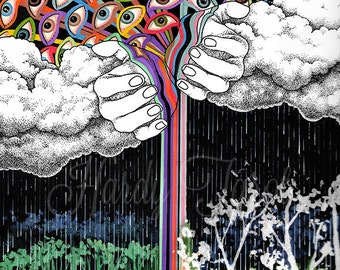 Rain Art Print- Forces Flora + Fauna, Oracle, Original Art Print, Sky, Hands, Psychedelic Art, Wall Art, Poster, Art Prints, Hand Drawn