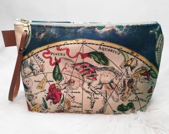 Star Map Makeup Bag - Zip-up Clutch/Makeup Bag, Constellations, Makeup Bag, Clutch, Stars, Astrology, Constellation