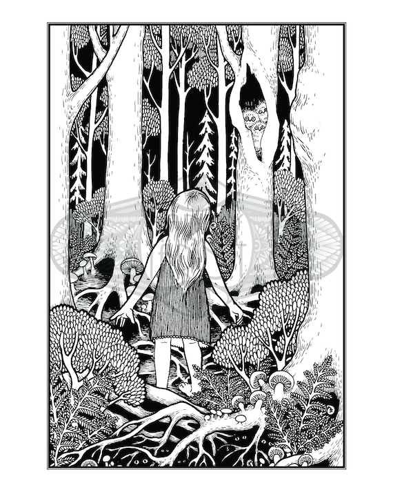 Child Art Print - Enchanted Wood Lenormand, Oracle, Original Art Print, Pen  and Ink, Child, Girl, Forest, Woodland, Fairytale