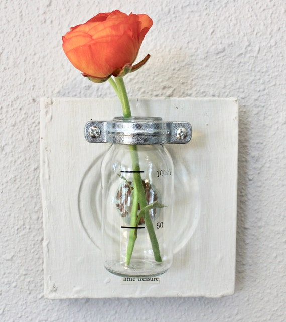 Hanging Wall Bud Vase With Vintage Molding And Glass Bottle Etsy