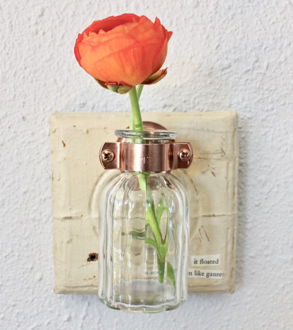 Hanging Wall Bud Vase On Reclaimed Molding With Copper Etsy