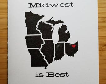 Midwest is Best Custom Letterpress card (add hearts in any location on the map)