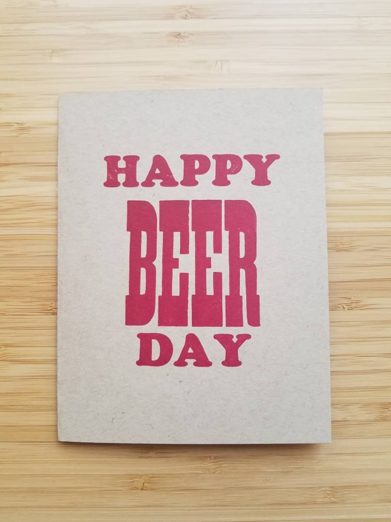 Happy Beer Day  Beer Lover's Happy Birthday Letterpress image 0
