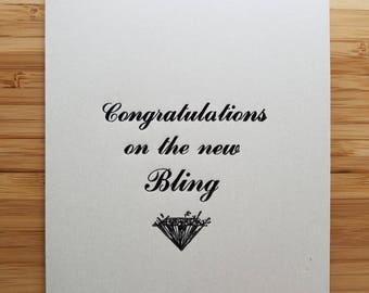 Congratulations on the new bling - Engagement and Bridal Shower Letterpress Card