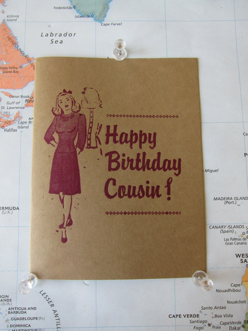 Happy Birthday Cousin Letterpress Card