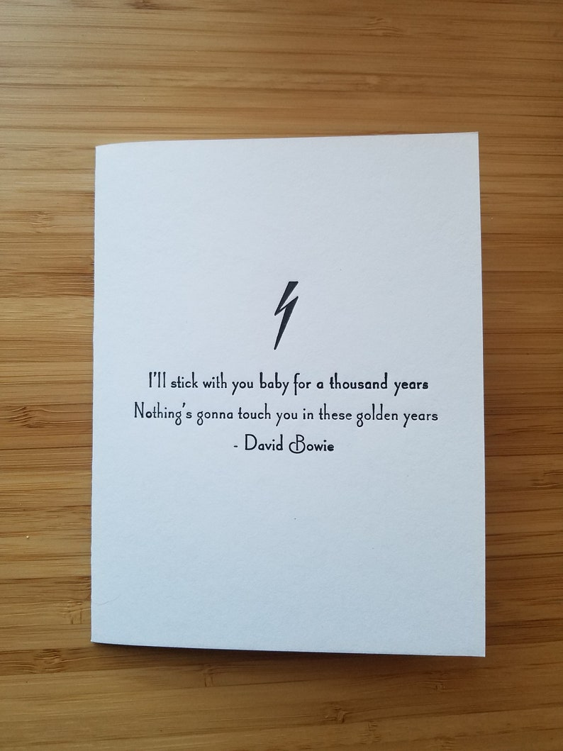 David Bowie Letterpress Love Card  I'll stick with you image 0
