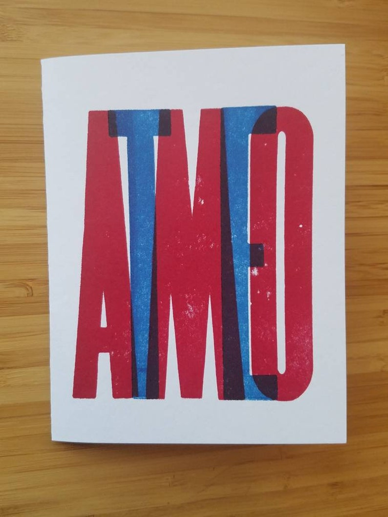 Te Amo: Letterpress Spanish and Portuguese Love Card image 0