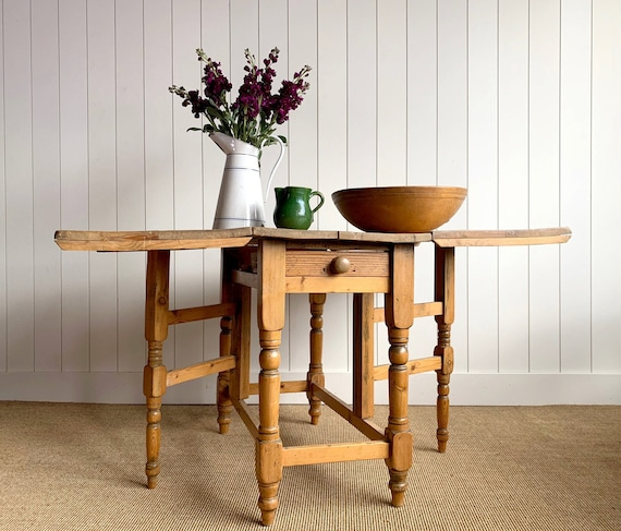 Antique English Country Scrubbed Pine Drop Leaf Table C1890 Etsy