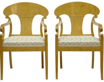 A Graceful Pair of Antique 19th Century Swedish Birch Armchairs
