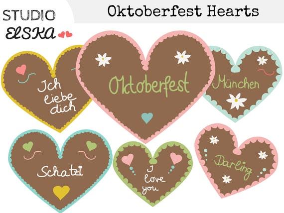Oktoberfest Gingerbread Hearts Clipart