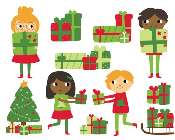 Christmas Presents Clipart.Christmas Kids With Presents Clipart